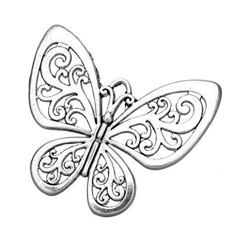AKOAK 5 Pack Vintage Style Antique Silver Tone Hollow Butterfly Charm Pendants for Jewelry Making DIY Charm Crafts (Silver Tone Butterfly Charms)