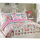 Kaputar Beautiful Modern Cozy Pink Blue Teal Aqua Purple Polka DOT Girl Flower Quilt Set   Model CMFRTRSTS - 3854   King