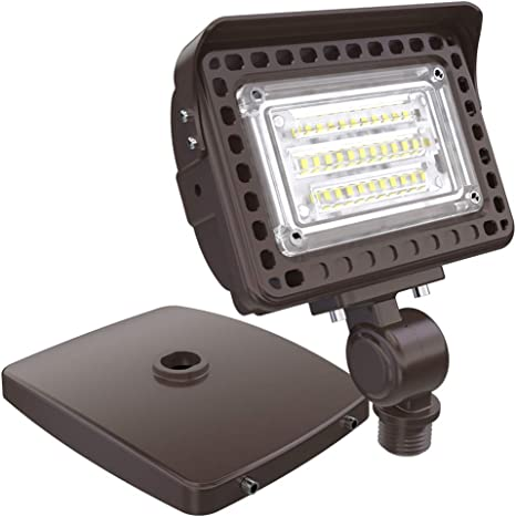 Hyperlite 15w Led Flood Light 1 800lm 5000k 50w Hps Equivalent With Knuckle Mount With Base For Wall Mount Ip65 Waterproof Outdoor Landscape