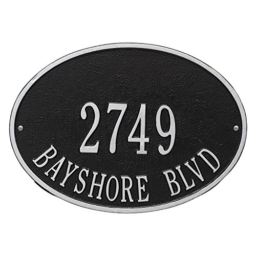 Whitehall Products Hawthorne Standard Oval Black/Silver Wall 2-Line Address Plaque