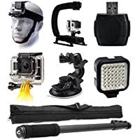 GoPro HERO4 Hero 4 Black Silver Enthusiast Accessories Bundle includes Head Helmet Mount + Stabilization Handle Grip + Card Reader + Floating Handle + Car Suction Cup Mount + LED Light + Selfie Stick