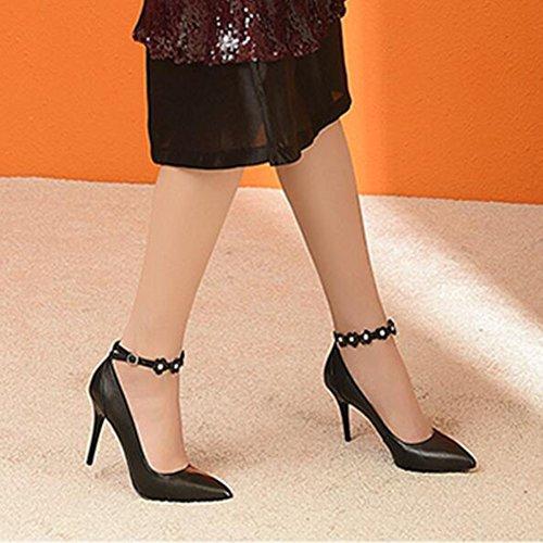 Cuir Peu CJC Black Chaussures Touche Boucle Seule Talons UK3 Chaussures Taille Couleur Bouche Pointu Hauts Femme EU35 en Seule Une Black Profonde Stiletto UYEqwYr
