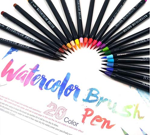 Watercolour Brush Pen Set,Watercolour Brush Pens 20 Colours Soft Flexible Tip Paint Brush Marker Pens Adult Coloring Books Manga Comic Calligraphy Kid Drawing Sketch Painting