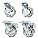 6 Inches Heavy Duty Rubber Caster Wheels Anti-Skid