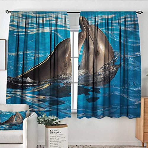 Pool Master Aqua Roller - Mozenou Dolphin Custom Curtains Aqua Show Pair of Valentines Dolphins Dancing in Pool Animal Tenderness Love Thermal Blackout Curtains 63