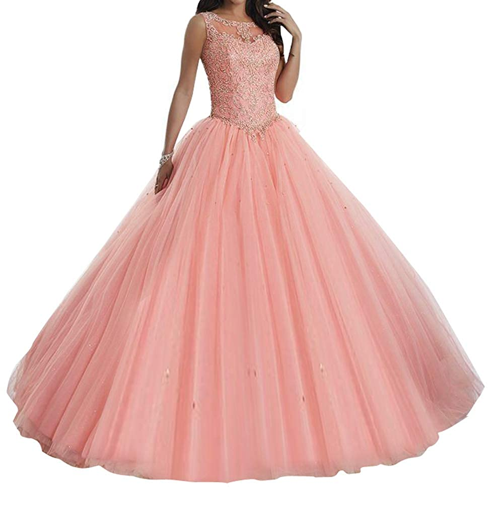 Coral TuanYuan Sweet Girls 15 16 Ball Gowns Lace Tulle Women Quinceanera Dresses