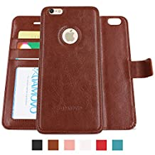 Amovo iPhone 6s Plus Case, iPhone 6 Plus Case [Detachable Wallet Folio] [2 in 1] [Premium Vegan Leather] iPhone 6s Plus Wallet Case with Gift Box Package (Brown)