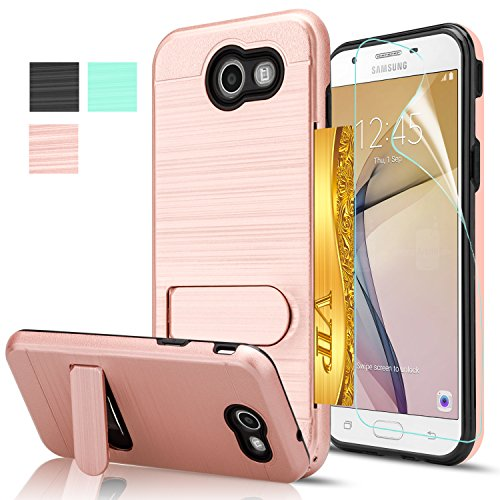 Price comparison product image Galaxy J7 V Case,Galaxy J7 Sky Pro/J7 Perx/J7V 2017/J7 Prime/Halo Case with Screen Protector,AnoKe[Card Slots Wallet Holder]Kickstand Plastic TPU Shockproof Case For Galaxy J7 2017 KC1 Rose Gold