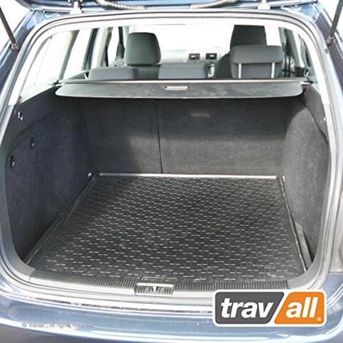 Travall Liner for VOLKSWAGEN Golf Wagon (2007-2013) also for Volkswagen Jetta Sportwagen (2005-2015) TBM1044 - All-Weather Black Rubber Trunk Mat Liner (Trunk Liner Wagon)