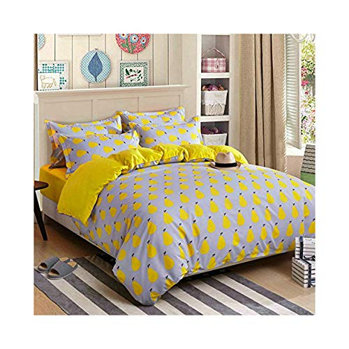 Fruit Pear, Yellow Twin, 59 x78  4pcs Bedding Sets Duvet Cover Fitted Bed Linen Pillowcase LZ Twin Full Queen No Comforter City Finding Nemo Lavender Fuilt Pear Design for Bedding Room (Grass Lavender, Purple, Queen, 78 x90 )