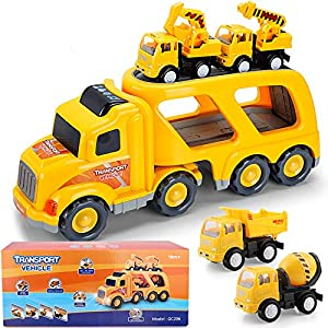 Best Epic Trends 51Azdh6tssL._SS300_ Construction Truck Toys for 1 2 3 4 Years Old Toddlers Child Kids Boys, Cars Toys Set, Play Vehicles with Sound and…