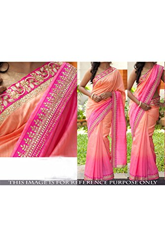 Indian Trends Designer Ethnic Pink and Orange Georgette Bollywood Replica Saree Sar
