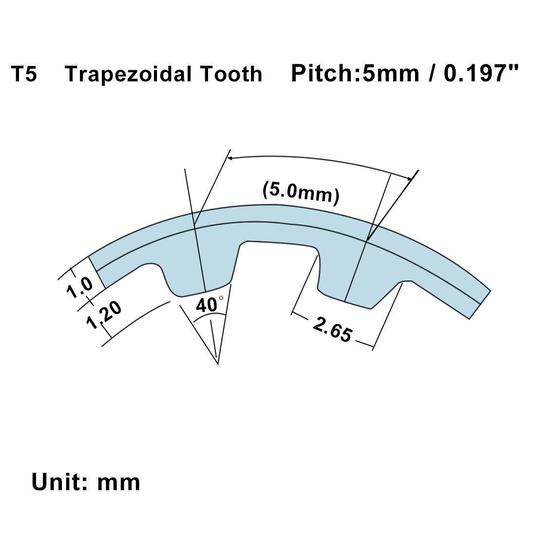 sourcing map Correa de la polea de distribuci/ón T5x355 Goma de bucle cerrado sincr/ónico de la correa de distribuci/ón herramientas ancho 10 mm
