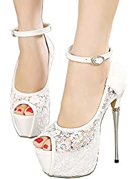 Women's Lace Flower Strappy Hollow High Heels