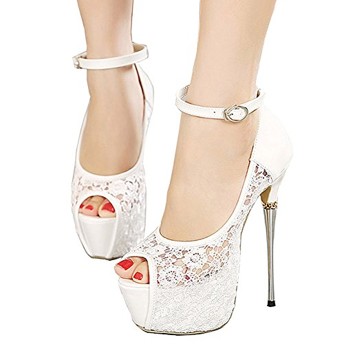 Getmorebeauty Women's Lace Flower Strappy Hollow High Heels
