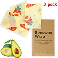 Beeswax Wrap Set 3 Pack Reusable for Food Storage Natural Eco-Friendly Washable Wraps Organic for Keeping Bread, Sandwich, Jam Fresh (1 Small, 1 Medium and 1 Large) (Carrot)