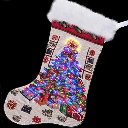 Arelux 19'' LED Christmas Hanging Stockings | Counted Cross Stitch Kit |Xmas Holiday Home Decoration with Colorful Lights |Classic Embroidered Festival Pattern Stockings|Large Size glowing Stockings|C ()
