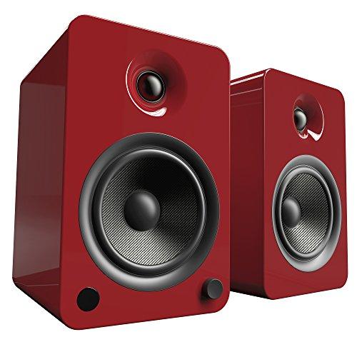 """Kanto 5-1/4"""" Powered Wireless 2-Way Bookshelf Speakers (Pair) Gloss red YU6GR"""