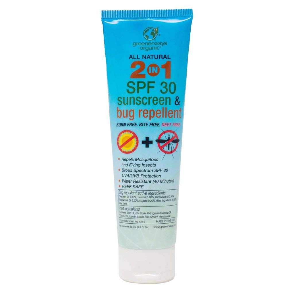 The Greenerways Organic 2 in 1 Sunscreen and Bug Repellent travel product recommended by Danielle Whitaker on Lifney.
