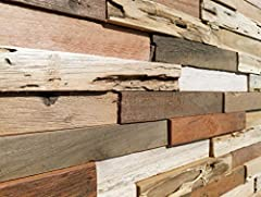 Our 3D wall décor paneling collection is carefully created from responsively sourced reclaimed barn wood. Each panel is handmade and unique. We select each individual slat by hand to ensure the superb quality. All panels have been naturally w...