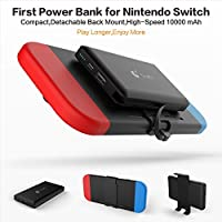 Nintendo Switch Portable Power Bank / Battery Case, External Backup Battery, 10000mAh (built-in Type C cable) suitable for charging iPhone / iPad / Samsung S8/Note 8 / all smartphones / tablets