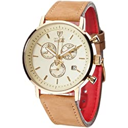 DETOMASO Men's DT1052-H MILANO Chronograph Classic beige/Braun Analog Display Swiss Quartz Brown Watch