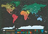 """Jian Jing Scratch Map Travel Map, Travel Size Scratch Off Map, Personalised Travel Tracker Poster,Remember and Share Your Adventures (Black 