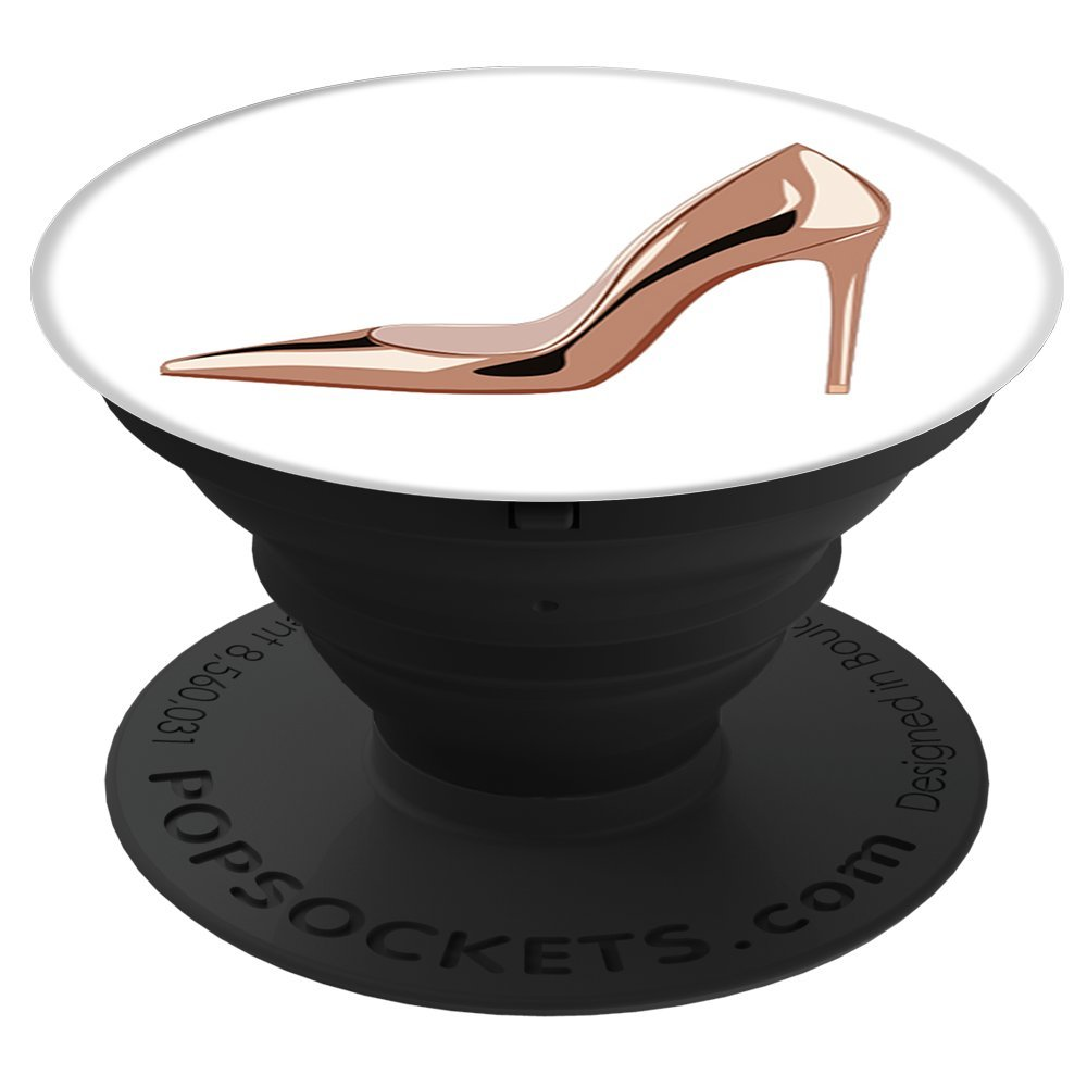 The PixelPOD Rose Gold High Heel Pump Shoe PopSockets Stand for Smartphones and Tablets