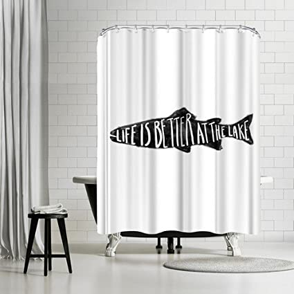Amazon AmericanflatLife Is Better At The Lake Shower Curtain