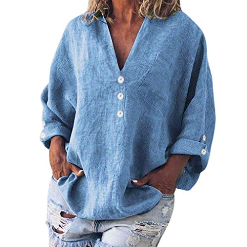 Plus Size Retro Button Blouse, QIQIU Summer Womens Elegant Linen V-Neck Fashion Loose Casual Short Sleeve Shirt T-Shirt Blue