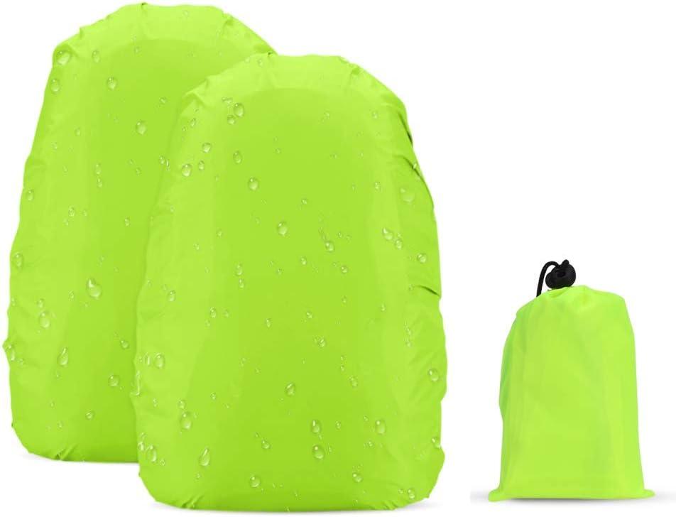 v/élo camping AGPTEK Lot de 2 housses r/éfl/échissantes pour sac /à dos imperm/éable /à haute visibilit/é et anti-vol pour randonn/ée vert voyage 41-55L activit/és de plein air