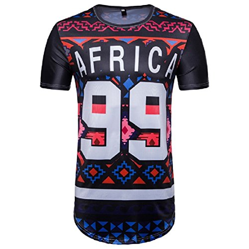 YUNY Men's Short Sleeve African Floral Print Ethnic Style Dashiki Pullover Regular-Fit Hip Hop Tees Top As Picture S by YUNY