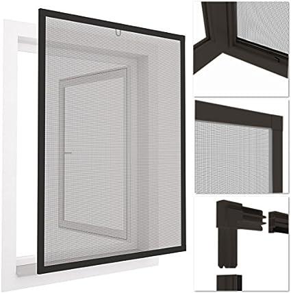 Mosquitera con marco de aluminio para ventanas easyLINE - 100 x 120 cm - color gris