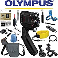 Olympus Stylus Tough TG-Tracker Wifi Action Camera (Black) + Sony 32GB MicroSD Card + Floating Strap + Flexpod + Case + Travel Charger + Battery + Suction Mount + Bike Mount + Selfie
