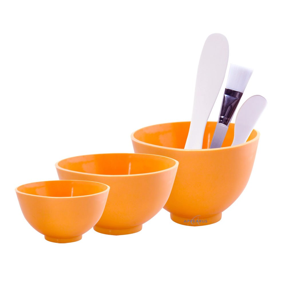 Appearus Facial Mask Rubber Mixing Bowl Set with Brush & Spatulas