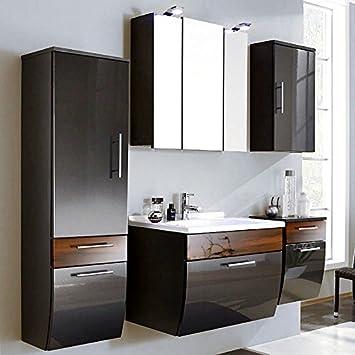 Badmöbel Set 5-teilig ● Hochglanz Anthrazit & Walnuss ● Badezimmer  Komplettset: Spiegelschrank, Waschtisch mit Unterschrank, Hochschrank, ...