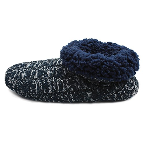on Rubber Sole Cozy Soft Indoor Q Boots Memory Knit Midnight Foam Men with Rock Navy Plus Warm Pull Slipper Wool TTSCq8wna