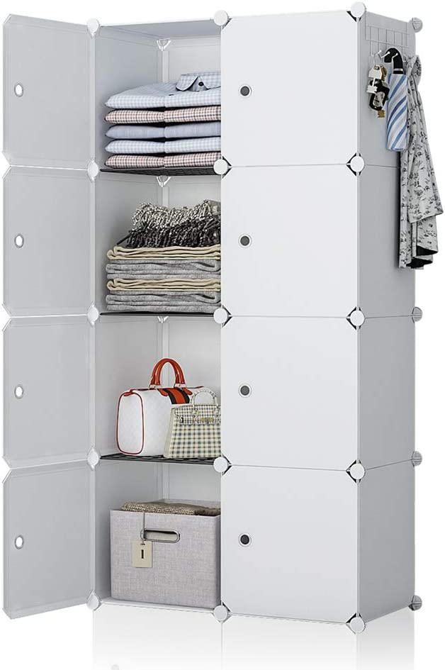 YOZO Portable Wardrobe Closet White Dresser Chest Drawer Ployresin Clothes Cube Storage Organizer Pantry Cabinet Shelving Unit Multifunction Toy Bookshelf DIY Furniture, White, 8 Cubes