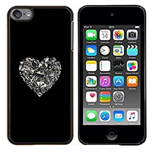 Planetar® ( Corazón del brillo Espejo Negro Corazón Bling ) Apple iPod Touch 6 6th Touch6 Fundas Cover Cubre Hard Case Cover