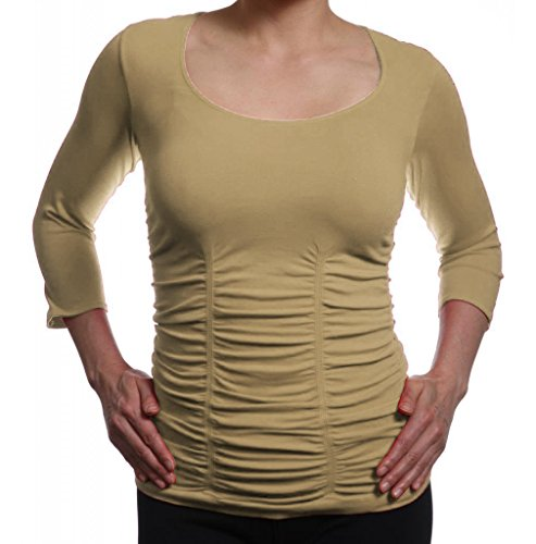 Last Tango Women's Scoop Neck 3/4 Sleeve Top, Camel (X-Large) ()