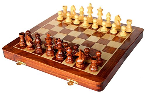 Stonkraft Collectible Folding Wooden Chess Game Board Set with Magnetic Crafted Pieces, 12