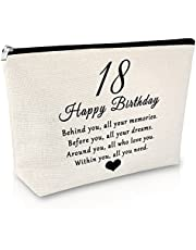 18th Birthday Gifts for Girls Makeup Bag Happy 18th Birthday Gifts Friendship Gift for Best Friend Funny Bestie Gift Cosmetic Bag Daughter Birthday Gifts from Mother Travel Cosmetic Pouch
