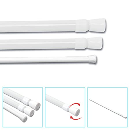 MultiWare Spring Net Curtain Rod Extendable Tension Telescopic Poles ...