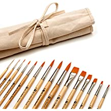 AIT Art Paint Brushes, Set of 15 Round and Flat Brushes with Canvas Holder, Handmade in USA to Last Longer Without Shedding or Breaking, Allowing Painting with Brushes that Artists Trust to Perform