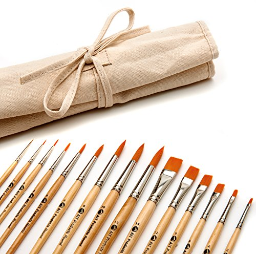 AIT Art Paint Brushes, Set of 15 Round and Flat Brushes with Canvas Holder, Handmade in USA to Last Longer Without Shedding or Breaking, Allowing Painting with Brushes that Artists Trust to Perform by AIT Products