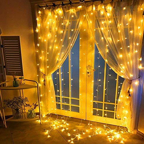 (Milemont Window Curtain String Lights Fairy Twinkle Icicle Starry Lights for Wedding Christmas Party Home Garden Bedroom Outdoor Indoor Wall Decorations, 9.8ftx9.8ft Warm White)