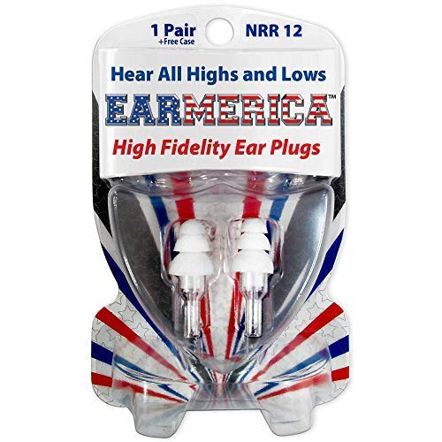 EARMERICA High Fidelity Ear Plugs are The Ultimate in Comfort - First Choice Musicians Ear Plugs - Must Have Concert Ear Plugs - Fantastic Motorcycle Ear Plugs (1 -