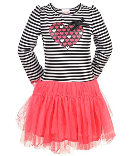 Glitter Heart Dress with Stripes and Tulle