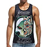Jianekolaa Men's Tank Tops 3D Printed Underwaist Cool Jersey Ringer Casual Vest T Shirt Black