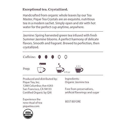 PIQUE Organic Jasmine Green Tea Crystals, Antioxidants, Energy, Gut Health, Tea for Recipes, Baking and Lattes, 14 Single Serve Sticks (Pack of 1)
